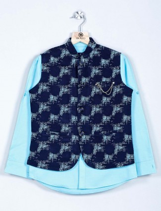 Navy and aqua printed cotton boys waistcoat with kurta