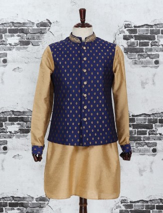 Navy and beige color raw silk fabric waistcoat set