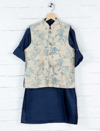 Navy and beige printed party wear waistcoat set