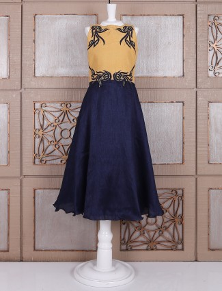 Navy and beige silk gown