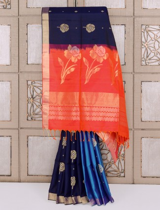 Navy and blue color half and half silk saree