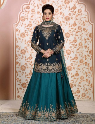 Navy and green satin lehenga suit