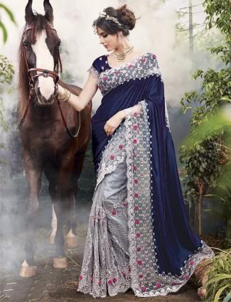 Navy and grey net velvet half and half saree