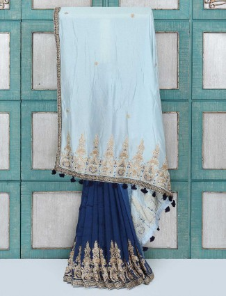 Navy and light blue silk fabric party wear saree