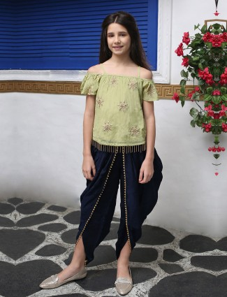 Navy and light green girls dhoti suit