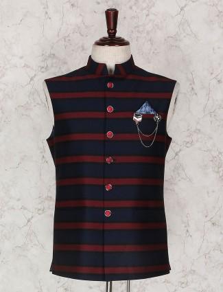 Navy and maroon stripe party waistcoat