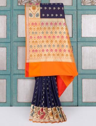 Navy and orange silk saree