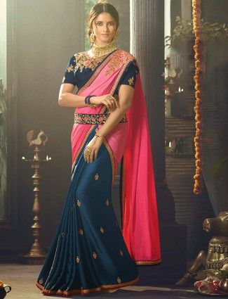 Navy and pink color crepe saree