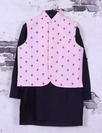 Navy and pink printed waistcoat set