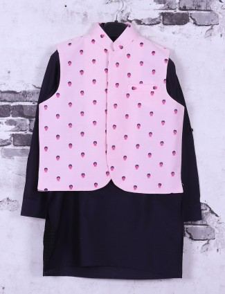 Navy and pink printed waistcoat set for boys