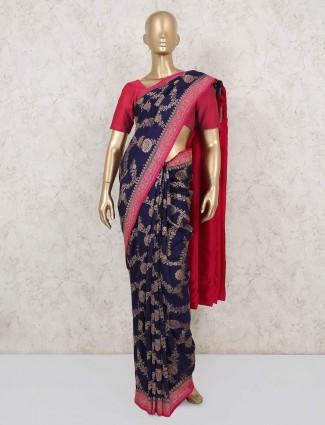 Navy and pink saree for wedding in muga silk
