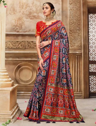 Navy and red patola silk saree design for wedding