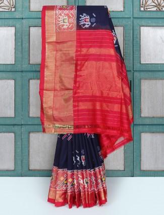 Navy and red silk wedding wear saree