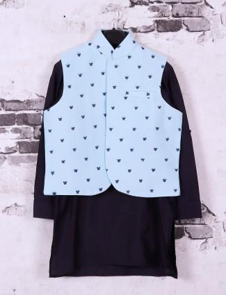 Navy and sky blue silk fabric waistcoat set for boys