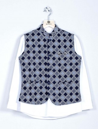 Navy and white checks cotton waistcoat