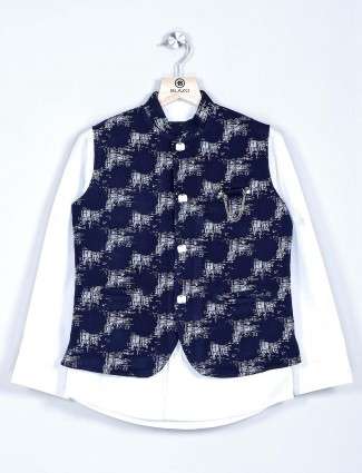 Navy and white checks waistcoat kurta