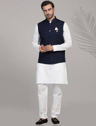 Navy and white linen kurta suit