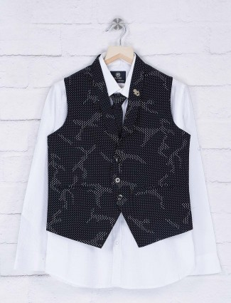 Navy and white party wear waistcoat shirt