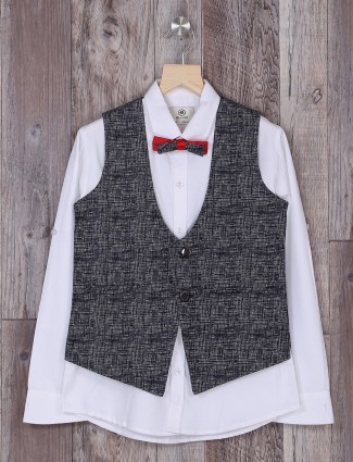 Navy and white terry rayon waistcoat