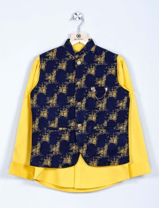 Navy and yellow printed waistcoat kurta