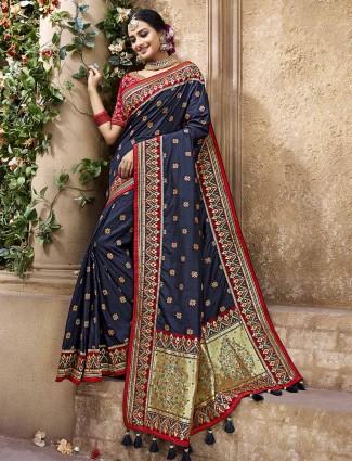 Navy banarasi silk classic saree