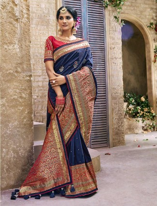Navy banarasi silk saree for wedding occasion