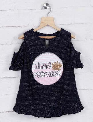 Navy blue casual knitted top