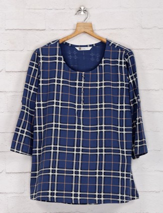 Navy blue checks casual top in cotton