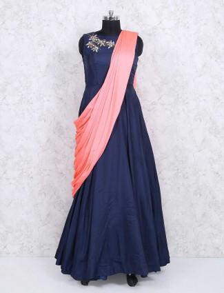 Navy blue color indowestern salwar suit