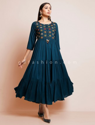 Navy blue colored festive kurti in cotton fabric