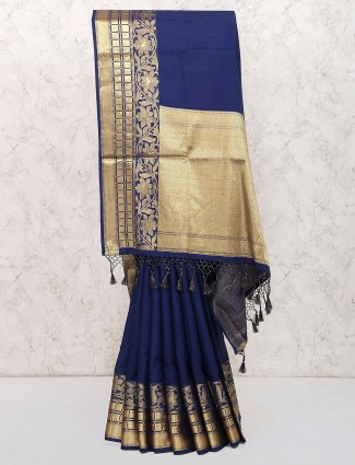 Navy blue cotton silk party saree