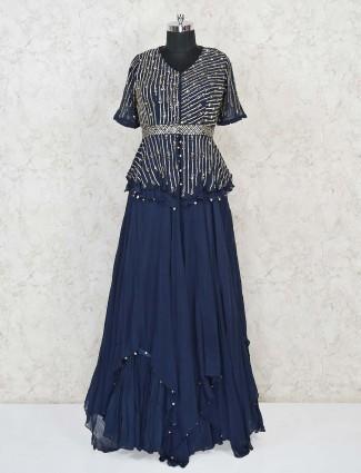 Navy blue designer lehenga style salwar suit in georgette