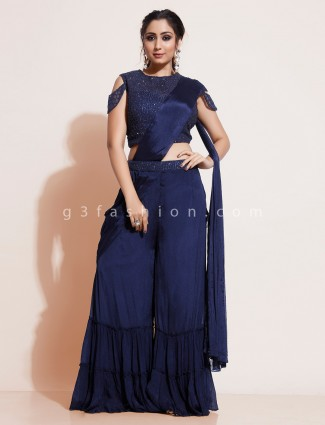 Navy blue designer sharara suit in georgette with attached dupatta