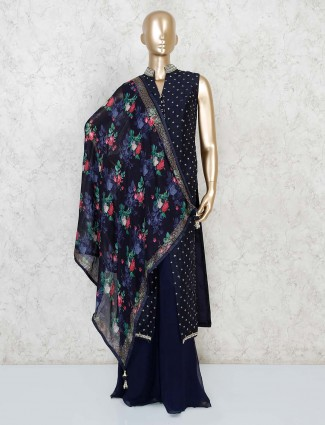 Navy blue front slit palazzo suit with printed dupatta