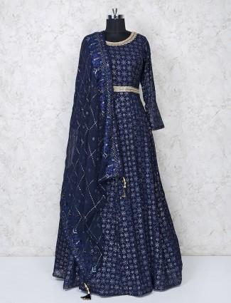 Navy blue georgette round neck anarkali salwar suit