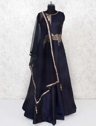 Navy blue gorgeous party gown in satin fabric