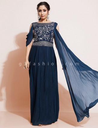 Navy blue indo western salwar suit in georgette with attached dupatta
