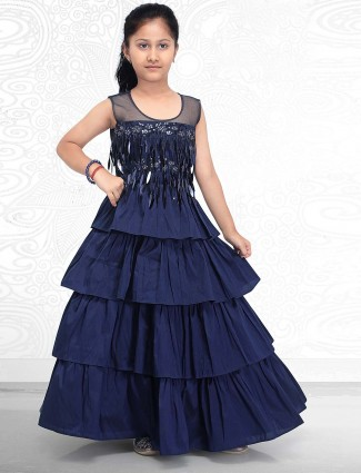 Navy blue layer style cototn silk gown for party function