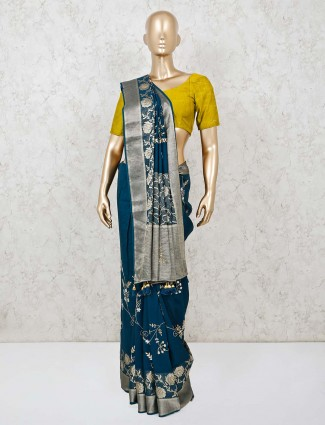 Navy blue muga silk saree for wedding