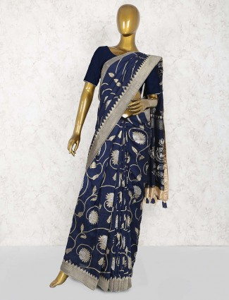 Navy blue party muga silk saree