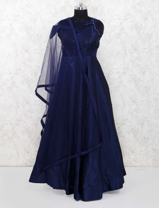 Navy blue party raw silk pretty gown