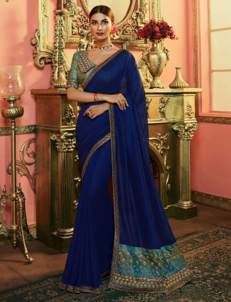 Navy blue party wear silk saree