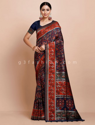Navy blue pashmina silk saree for weddings
