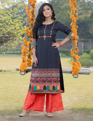 Navy blue printed cotton festive wear palazzo suit