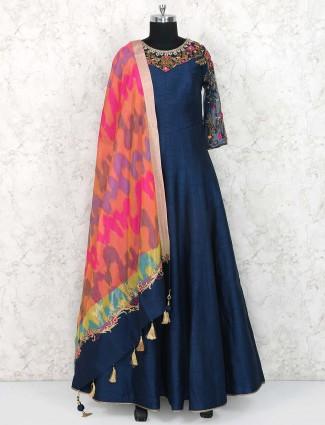 Navy blue raw silk fabric anarkali suit