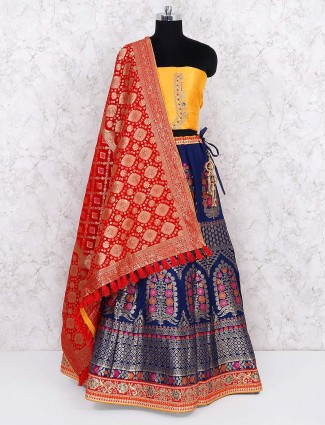 Navy blue raw silk semi stitched lehenga choli