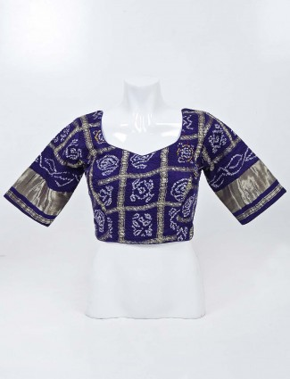 Navy blue readymade blouse with bandhej and sweetheart neck