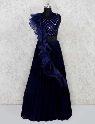 Navy blue ruffle lehenga choli in georgette