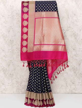 Navy blue saree in semi silk for wedding wear