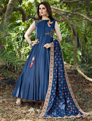Navy blue silk anarkali suit for wedding fuction